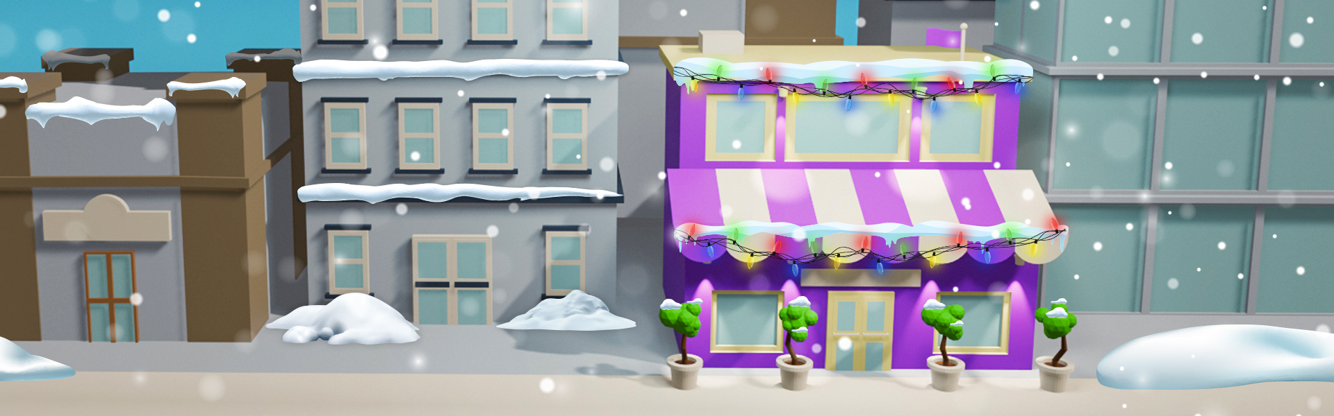 An illustration of a purple store with holiday lights and snow falling