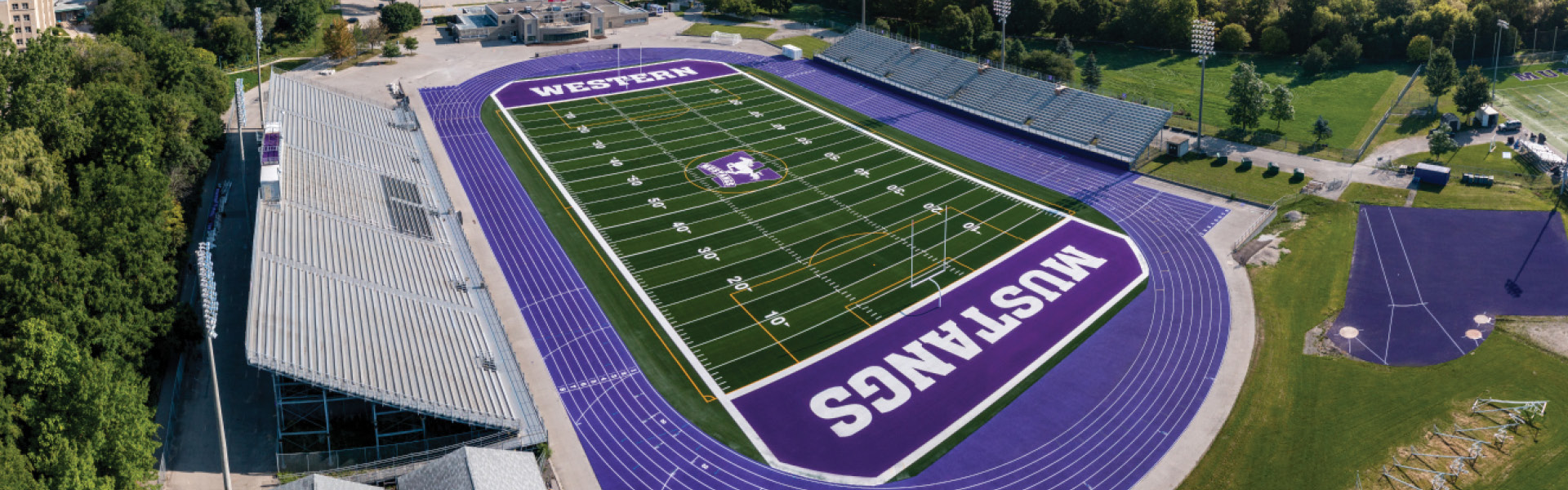 Birds eye view of football field